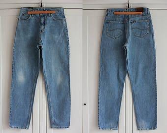 Vintage Jeans LEE Blue Denim High Waisted Pants Trousers Unisex Women Men Classic Fit W32 L32 / Large size