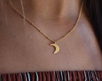 Crescent moon pendant, Gold pendant necklace, Gold necklace, Layering necklace, simple necklace