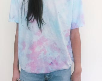 Blue and pink tie dye shirt