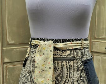 Handmade Womens Bohemian Festive Patterned Work/Vendors/Teachers/Crafters Tool Festival Utility Belt Half Apron