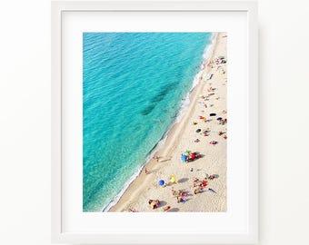 Aerial Beach Photography, Beach Art, Ocean Print, People on Beach, Digital Print, Wall Art, Printable Wall Art, Digital Download Instant