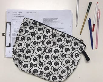 Eyes balls Canvas Zipper pouch, travel pouch, make up pouch, canvas pouch, gift for her