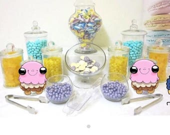 10 glass candy buffet jars (for hire)