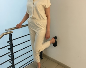 Raw silk overall, vintage onsie onepiece jumpsuit romper size S-M.