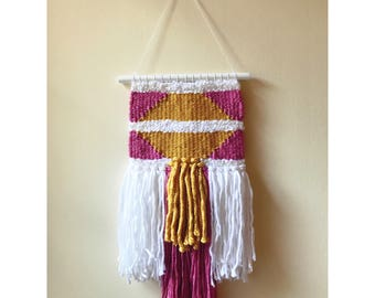 Gold & Pink Woven Wall Hanging