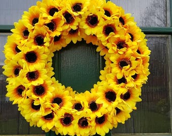Sunflower Wreath, spring, Sunflower, country decor, yellow, floral decor, door decor, floral Wreath, Sunflower decor