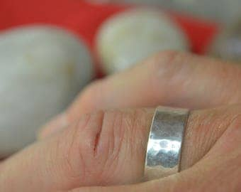 Sterling Silver Ring with a hammered texture