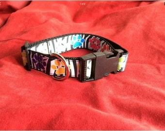 Large dog collar adjustable novelty zebra/pawprint design