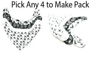 Bandana bib Drool Bibs Unisex Set with Pacifier Clip Pick your own 4 of choice Baby bib Adjustable bib Sold as set of 4