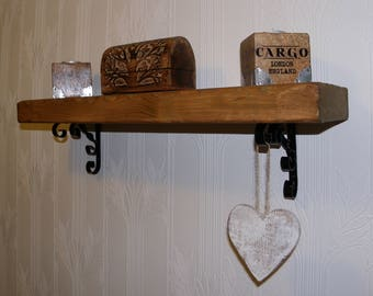 Solid wood chunky hand crafted rustic antique reclaimed shelf Hand Made By Me. shelf No1
