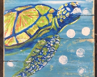 Sea Turtle Art, Sea Turtle Pallet Art, Sea Turtle wood art, Turtle painting, Coastal Decor, Beach Decor