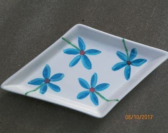 Blue Floral Hand-Painted Ceramic Jewelry Dish