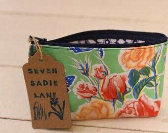 Oil Cloth Zipper Pouch Makeup Bag - Aquamarine Flowers