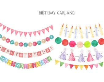 Watercolour Party Garlands Clip Art Graphic Design PNG High Resolution A67