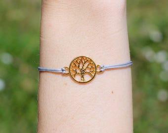 Tree of life macrame bracelet * gold & grey * size adjustable