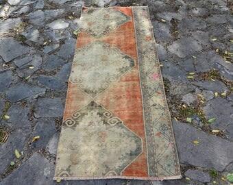 2.3' x 9.4' free shipping Pink and Orange Color Rug oushak faded rug vintage floor rug vintage turkish oushak Vintage Oushak Rug  Code 1432