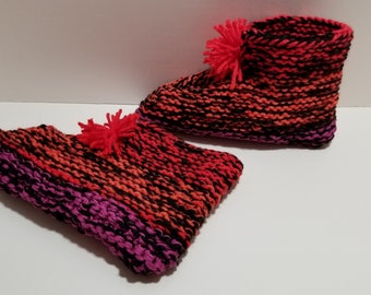 Adult Pull on Slipper Socks with Pom Poms and Cuff