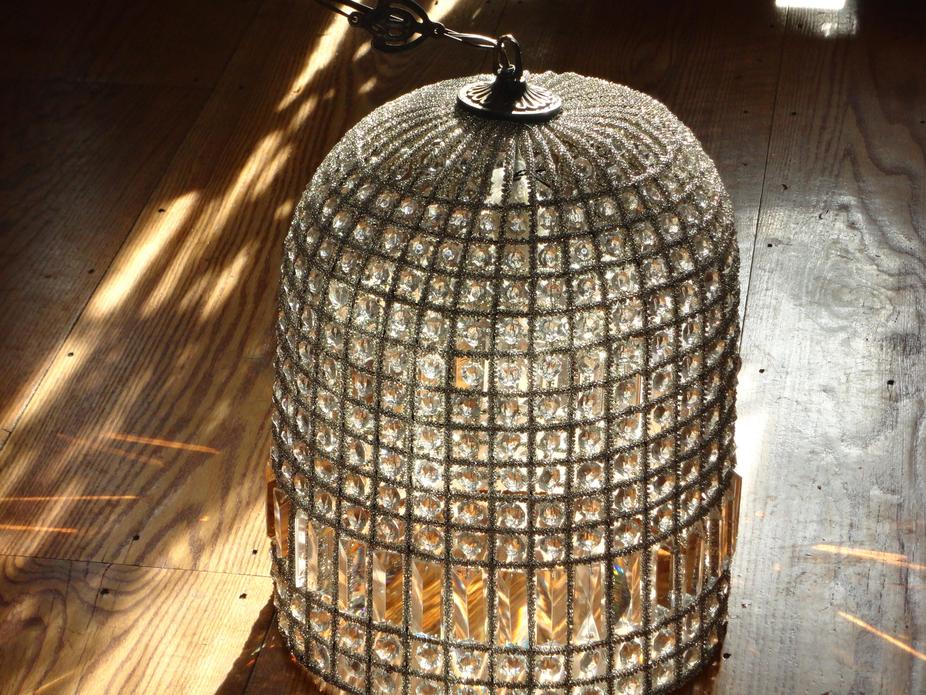Vintage Beaded Dome Shaped Birdcage Chandelier