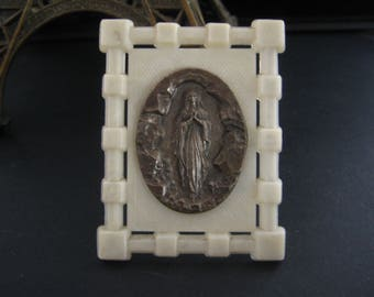 Vintage french Virgin Mary celluloid standing plaque  - Religious  item