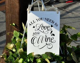 """All you need is love and wine wood sign - HAND PAINTED - Wine lovers - Wine kitchen decor - Handmade wooden signs - Rustic Wood Signs 5""""x7"""""""