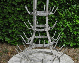 A Very Good Vintage French Wine  Bottle Drier / Herisson / Egouttoir A Bouteilles Galvanised Metal