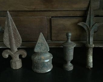 Vintage Fence Finials, Old Collectible Fence Finials, Antique Finials, Old Rustic Finials, Vintage Cast Iron Finials, Old Salvaged Finials