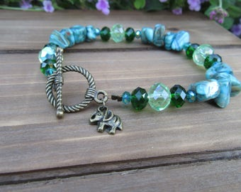 Turquoise and Dark Green Beaded Bracelet