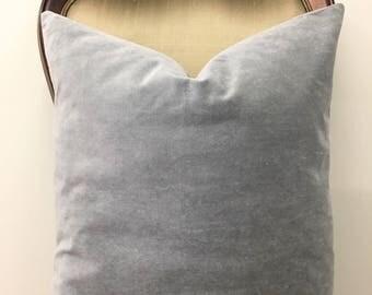 Grey Cotton Velvet Pillow Cover, Velvet Pillow, Gray Pillows, Designer Decorative Pillow, Throw Pillow, Cushions, Gray Velvet Pillow Covers