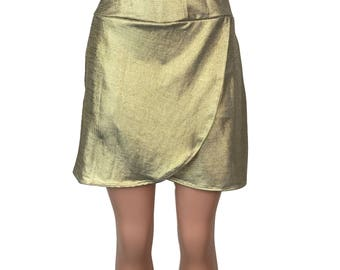 Gold Glitter Wrap - Golf / Running Skirt with Side Pocket and Attached Short (Skort)