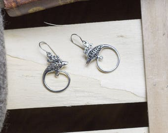 "cute pair of hoop earrings ""Peacock dragon"" dragon - bird - phoenix - magic - witch - pagan - shaman - viking - Celtic"