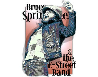 T-SHIRT: Bruce Springsteen and the E-Street Band - Classic T-Shirt & Ladies Fitted Tee - (LazyCarrot)