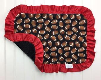 Sports theme nursery etsy football baby blanket custom colors football security blanket sports themed nursery football negle Gallery