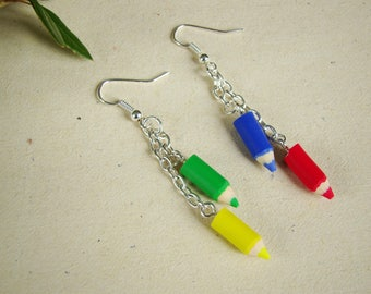 Gift centerpiece multicolored colored pencils with polymer clay earrings
