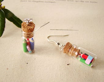 earrings or clips vial with colored pencils and eraser in polymer clay fimo-polymer clay earrings-teacher gift