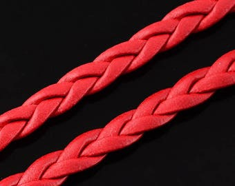 Metallic cord braided leather - Red