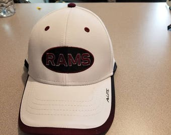 White Rams hat  with maroon and black trim on visor