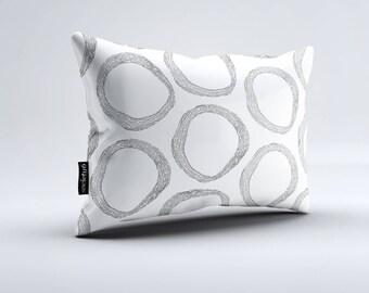Pattern White Lumbar Pillow, Throw Pillow, Black and White Pillow, Rectangular Pillow, Decorative Pillow, Throw Pillows, Pillow, Pillows