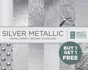 Silver Grey Foil Digital Paper, Metallic Silver Digital Paper, Silver Paper, Silver Backgrounds, Silver Scrapbook Paper, Instant Download