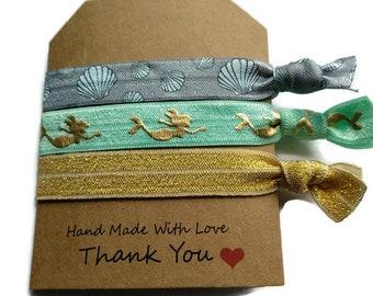 Mermaid yoga ties - Mermaid hair ties - Gold glitter hair ties - Fantasy hair accessories - Mint yoga ties - Mermaid party favours - Elastic