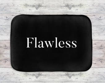 Flawless Bath Mat, Flawless Quote Bath Mat, Modern Bath Mat, Flawless Bathroom Decor, Black Bath Mat, Typography Bath Mat