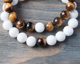 Couples Bracelets White Tiger Eye Bracelet His and Hers Long Distance Relationship Matching Bracelet Distance Bracelets Gay Couple Bracelets