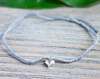 Dainty Gray String Bracelet Red String of Fate Silver Heart Charm Distance Bracelet Braided Gray Wish Bracelet Gray Thread Kabbalah Bracelet