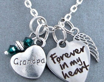 Grandpa Forever In My Heart Memorial Keepsake Charm Necklace, Birthstone, Angel Wing, Grief, Remembrance, Sympathy Gift, Loss Of Grandfather