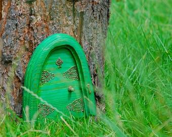 Fairy garden green door, secret fairy door, green fairy garden door, wooden fairy decorative door, ornamental fairy door