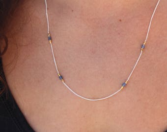 Sapphire Necklace - Sterling Silver Necklace -Genuine Sapphire - Minimalist Jewelry - Layered Necklace - Chain Necklace - Beaded necklace