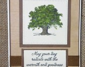 Happy Birthday, Homemade, Greeting Card, Scripture Verse, Tree, Green and Kraft Colors
