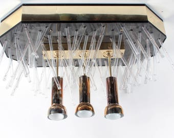 Modernist Brass and Lucite Chandelier