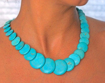 Women's turquoise round beads necklace