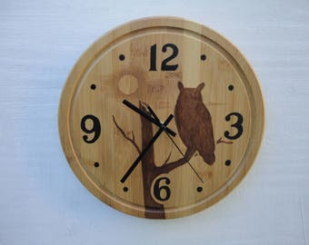 Clock Hand Painted Owl
