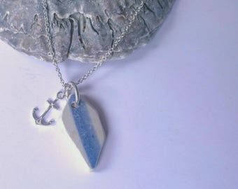 Nautical striped sea pottery & sterling silver anchor charm necklace